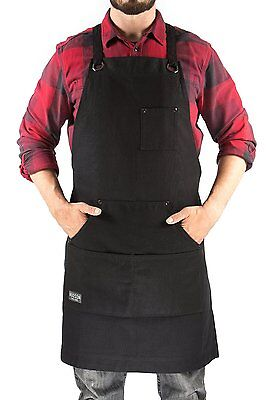 Hudson Durable Goods - Heavy Duty Waxed Canvas Work Apron Black, Adjustable up &