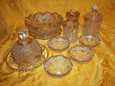 12pc Vintage Cut Clear Pressed Glass Serving Set, With Gold Trim