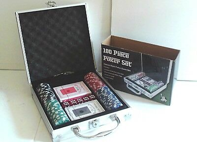 100 PIECE POKER GAME SET - IN LOCKABLE ALUMINIUM CASE - CHIPS, CARDS, DICE etc