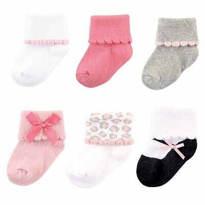 Luvable Friends Baby Girls 6-Pair Dressy Cuff Socks Set 0 To 24 Months New