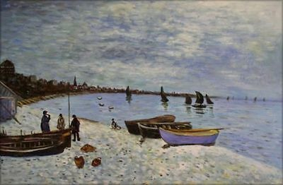 Hand Painted Oil Painting Claude Monet The Beach at Sainte-Adresse 24x36in