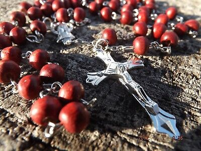 Jerusalem Scented Wood Rosary Necklace Cross - Faith Christ Holy Prayer - Red