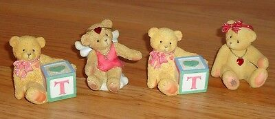 """Cherished Teddies ANGEL, BABY BLOCKS """"T"""" , and Heart Necklace Bear Lot of 4"""