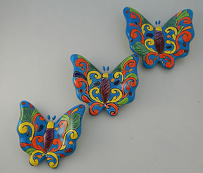 BUTTERFLY Set 3 Pieces Mexican Talavera Ceramic Wall Decor Hanging Pottery # 9