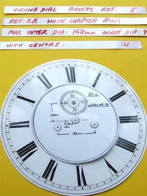 Buyers Ref:E,  Replacement laminate White  Vienna Regulator Clock Dial option 5
