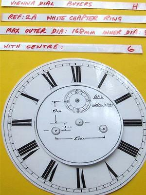 Buyers Ref:H,  Replacement laminate White  Vienna Regulator Clock Dial option 8