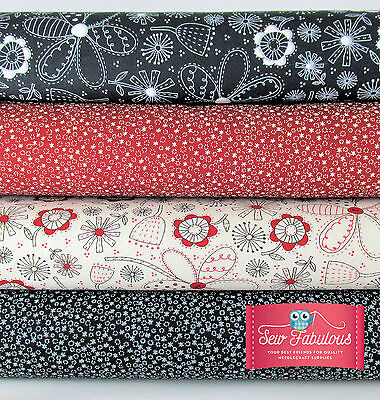 SALE Quirky Florals.100% Cotton Fabric by Moda Fat Quarters, Half Metres, Metres