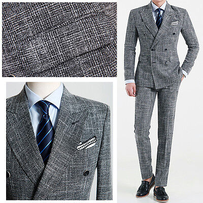 GREY Classic Men s Slim Fit Double Breasted Suit Wedding Suits Tuxedos UK US UK