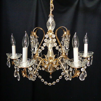 "6 Light Vintage Rustic Brass Crystal 24"" Chandelier From Opryland Hotel"