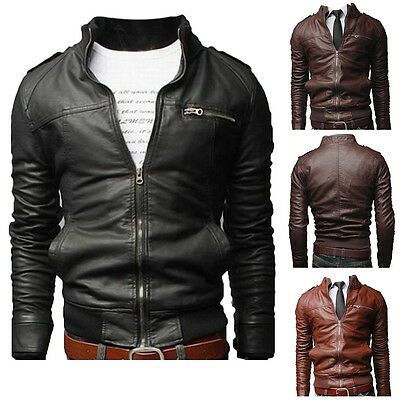 Men's Fashion Jackets Slim Fit Stand Collar Motorcycle Faux Leather Coat Outwear