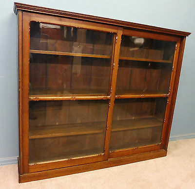 Antique Victorian Gothic  Carved Oak Bookcase With Sliding Doors • £395.00