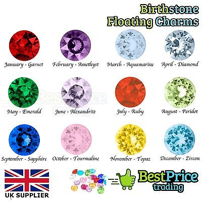 QUALITY Crystal Coloured BIRTHSTONE Gems For Living Memory Floating Charm Locket