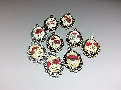 Pack of 10 Poppy Pendants for Necklace Bracelet Charm in Silver Bronze or Gold
