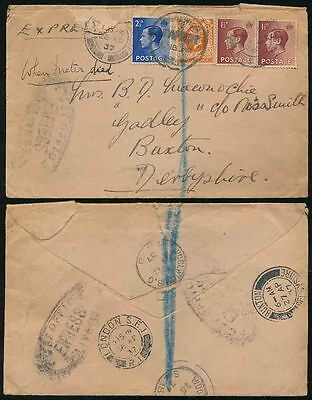 GB KING EDWARD 8th FRANKING POST OFFICE EXPRESS HANDSTAMPS 1937 WOOLWICH BUXTON