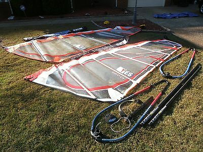 windsurfing  sail lot yes   2 sails, parts, bars, etc, bags Wave on