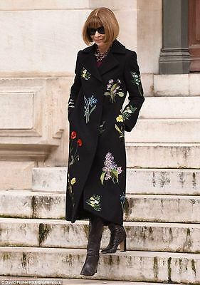 Stella Mccartney Black Nadia Floral Embroidered Wool Coat New UK 8 IT 38 £3250