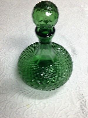 Green Glass 13 Inch Decanter