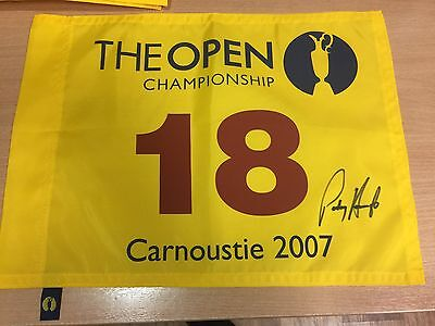 Padraig HARRINGTON Signed Carnoustie 2007 Open Golf Flag Autograph COA PROOF