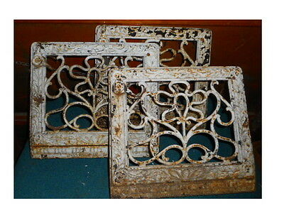 Lot 3 Vintage Cast Iron Baseboard Heating Grates Air Vents Ornate 1906 Pat.