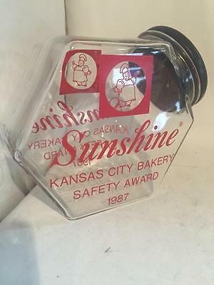 1987 Vintage Sunshine Biscuit Glass Cookie Jar CANISTER Candy Kansas City Bakery
