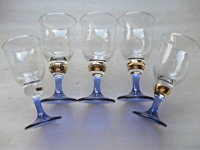 5 Blue Stem  Pedestal Drink  Juice Glasses