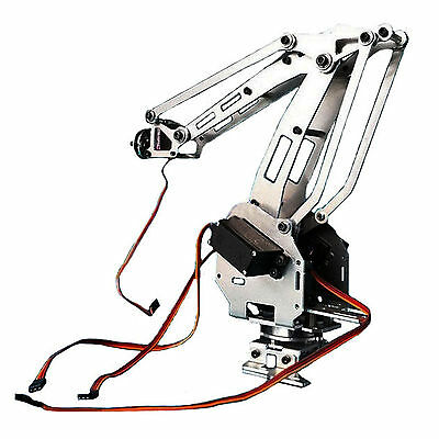 Aluminum 4-Axis Mechanical Robotic Arm Clamp Claw Mount Robot Kit Silver