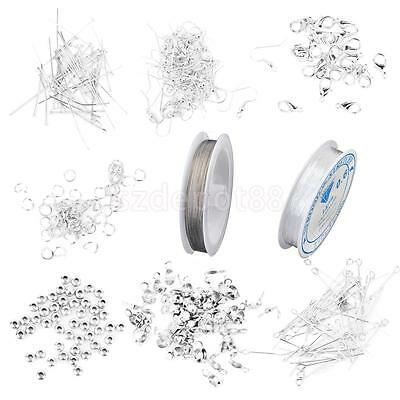 Silver Jewelry Making Supplies Beads,, Wire,PINS CLASP Crimps HOOKS