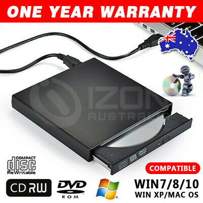 Portable External USB 2.0 CD RW DVD ROM Writer Burner Driver Win7/8/10 MAC