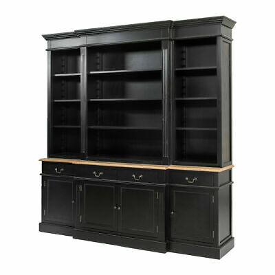 French Provincial Furniture Bookcase Cabinet Black
