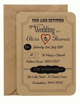 Personalised Vintage Postcard Style Wedding Evening Invitations with envelopes