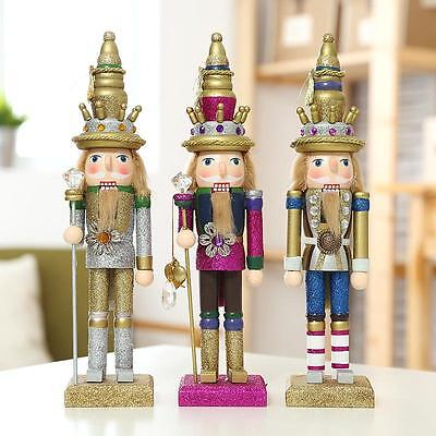 Bling Walnut Soldiers Christmas Wooden Nutcracker Glitter Soldiers Ornaments Set