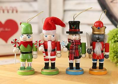 Christmas Walnut Soldiers Tabletop Wooden Nutcracker Soldier Ornaments Set 4pcs