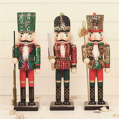 "Handmade 15"" Christmas Walnut Soldiers Wooden Nutcracker Xmas Decoration Gifts"