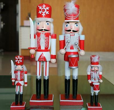 "15"" Christmas Wooden Nutcracker Walnut Soldiers Set  Xmas Decor Ornaments"