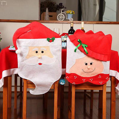 Xmas Santa Christmas Dining Chair Seat Covers Table Legs Covers Party Decoration