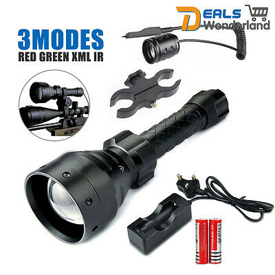 LED hunting light torch lamp NV nightvision red green XML IR 3 Mode +2*Batterie