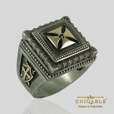 Knights Templar 14K Yellow Gold and Sterling Silver Ring Masonic Size Cross Ruby