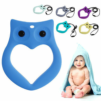 Baby Kids Cute Owl Teething Silicone Pacifier Pendant Teeth Toy Soother Teether