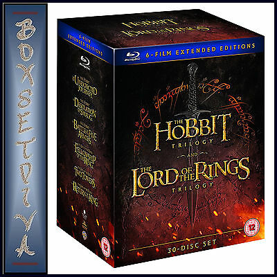 The Hobbit Trilogy & Lord Of The Rings Trilogy - 6 Film Extended  *bluray**