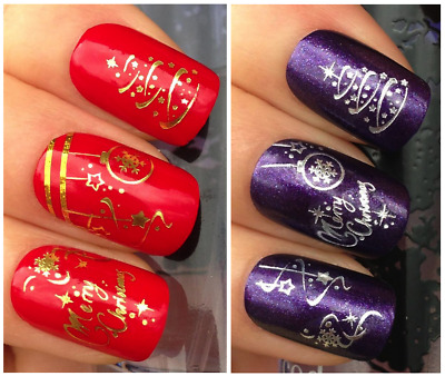Nail Art Water Transfer Stickers-CHRISTMAS-NATALE-ORO-ARGENTO-Manicure Natalizie