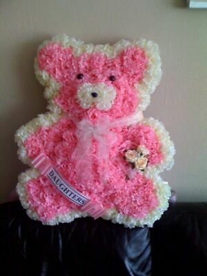Artificial Silk Funeral Flower Teddy Bear Tribute Large Childrens Wreath Son