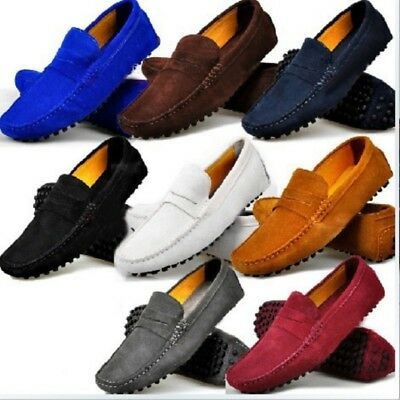 US Size 5-12 New Genuine Suede Leather Mens Driving Slip On Flats Loafers Shoes