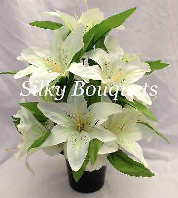 Grave Pot Artificial Silk Flower Lily Grave Crem Pot All Round White Memorial