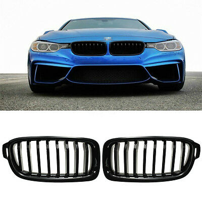 FOR BMW F30 F31 3 Series Kidney Grill Grille Gloss Black Saloon Touring  2012-16