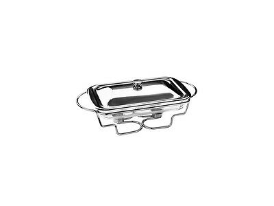 Food Warmer Large Glass Dish Stainless Steel Lid Christmas Dinner Table Serving