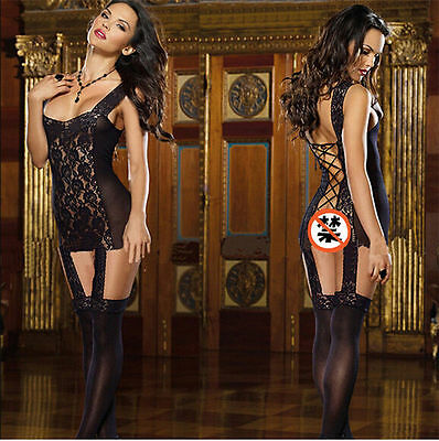 Women's Sexy Lingerie Nightwear Hot Transparent  Babydoll Mini Dress +G-String