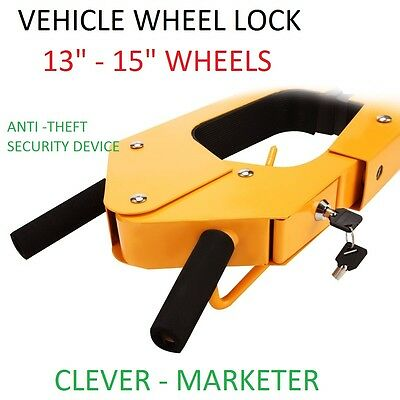 Auto Car vehicle Wheel Clamp Lock Anti Theft  Safety Security Heavy Duty+BOOK