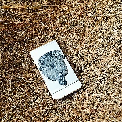 Silver Plated Money Clip with Antique Pewter American Buffalo Bison Emblem
