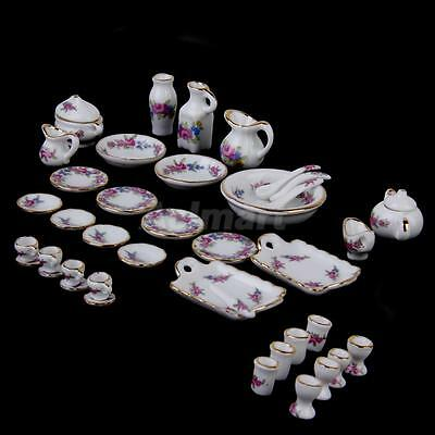 40pcs Dollhouse Mini Dining Ware Porcelain Tea Set Dish Cup Plate -Floral