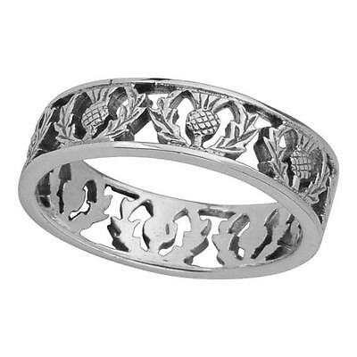 Original Scottish Thistle 925 Sterling Silver Ring Band Gift Boxed 0501